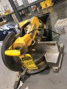 DEWALT 12'' DOUBLE BEVEL COMPOUND MITER SAW, MODEL DW716, S/N 8451, MOUNTED ON STEEL TABLE