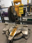 DEWALT 12'' DOUBLE BEVEL COMPOUND MITER SAW, MODEL DW716, S/N 264182, MOUNTED ON STEEL TABLE