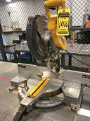 DEWALT 12'' DOUBLE BEVEL COMPOUND MITER SAW, MODEL DW716, S/N 253798, MOUNTED ON STEEL TABLE