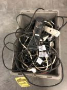 BIN OF EXTENSION CORDS AND POWER STRIPS