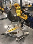 DEWALT 12'' DOUBLE BEVEL COMPOUND MITER SAW, MODEL DW716, S/N 26387, MOUNTED ON STEEL TABLE