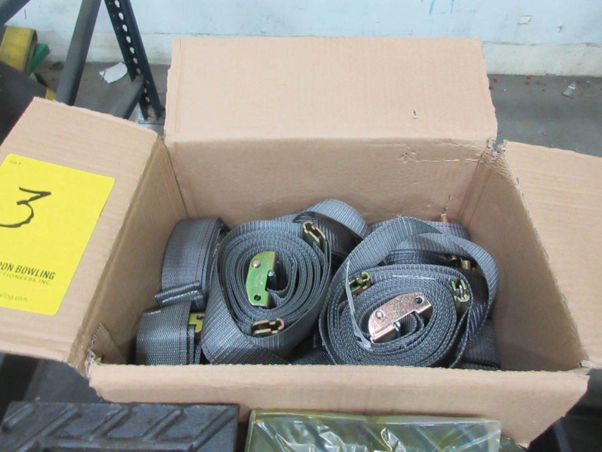 Lot 3 - (2) BOXES U.S. CARGO RATCHET STRAPS, (1) BOX LODI METALS CAMBUCKLE STRAPS