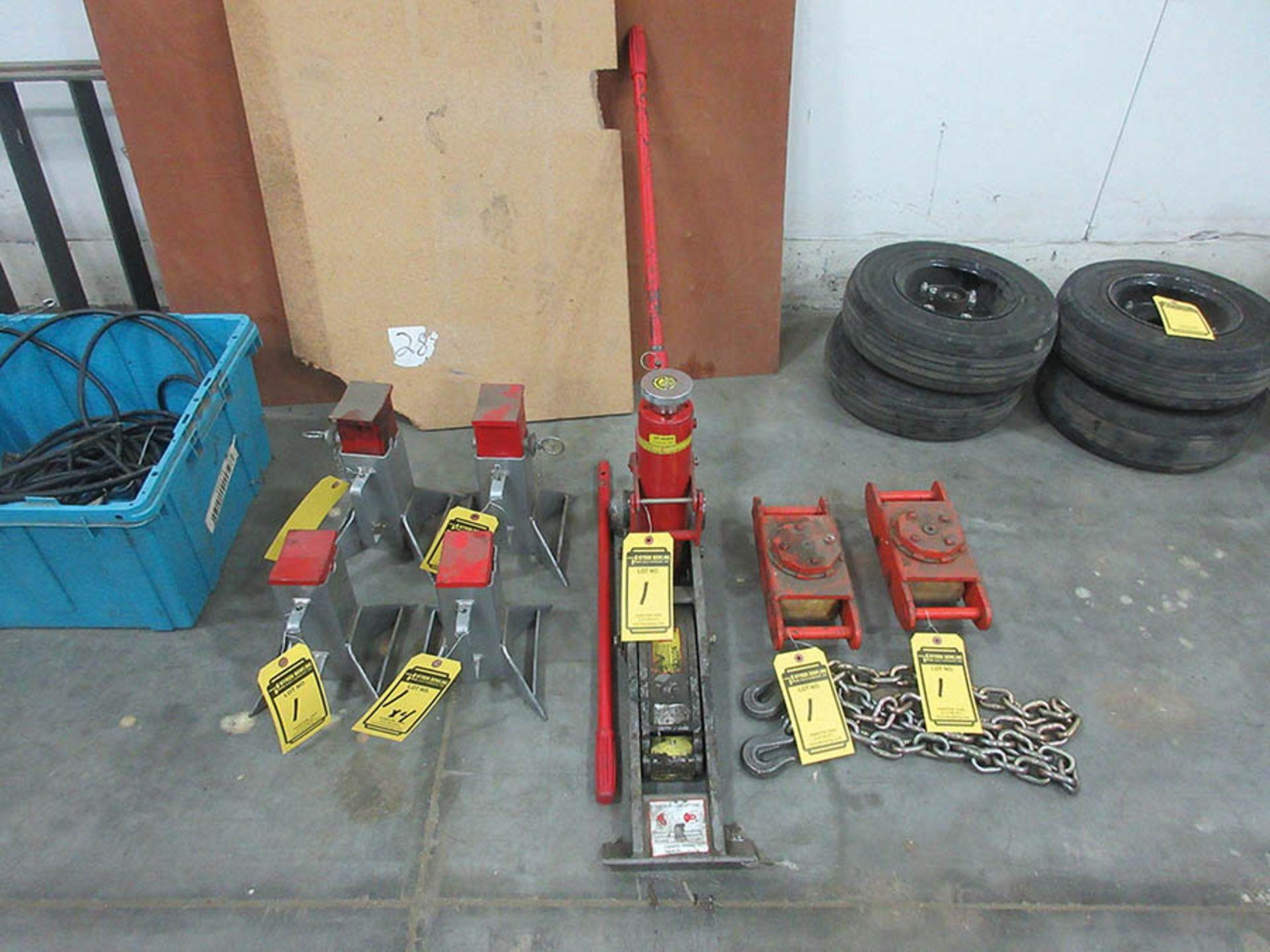 Lot 1 - (2) MULTITON MACHINE SKATES, 4-TON HYDRAULIC JACK, (4) 7-TON JACK STANDS