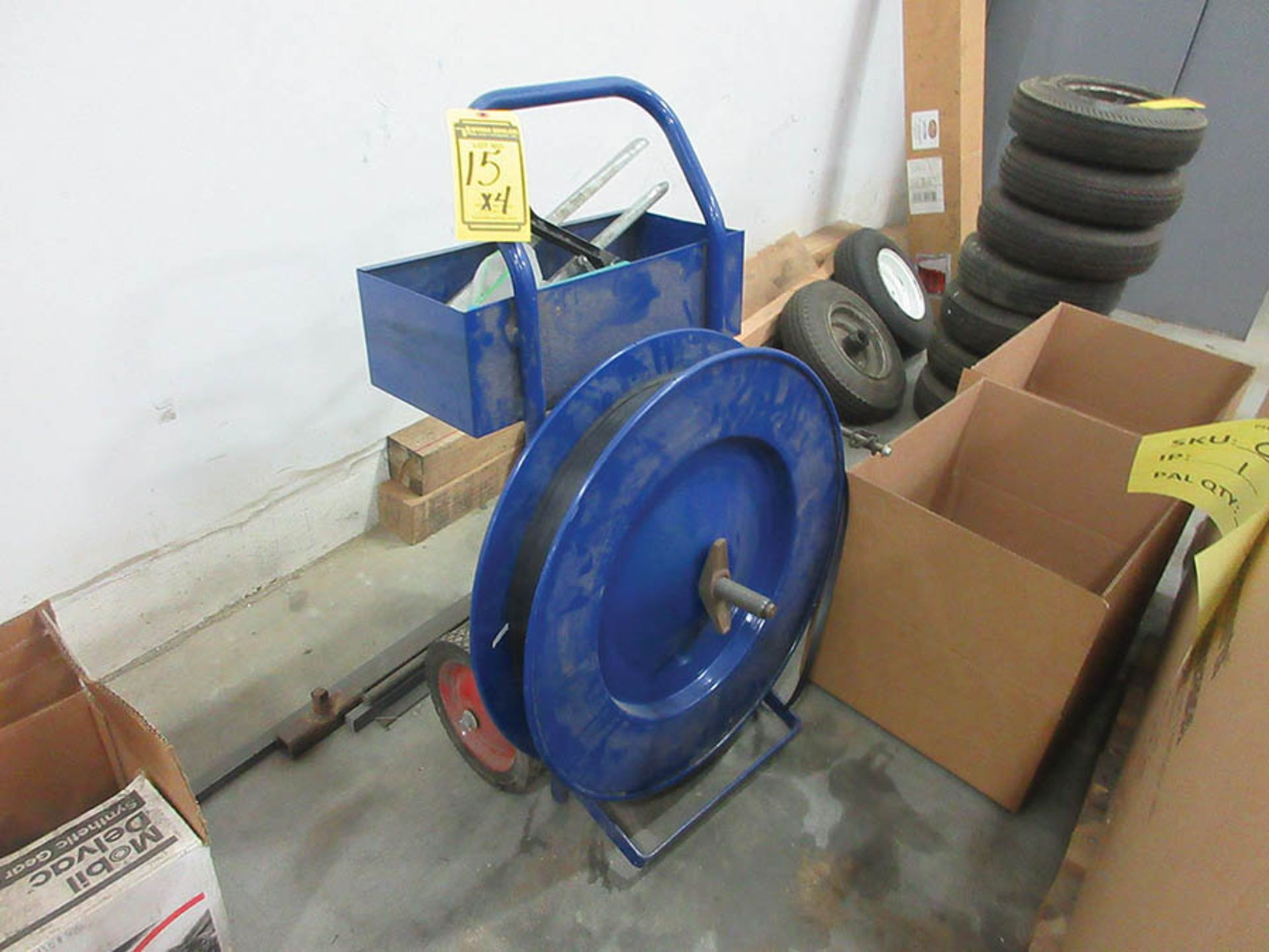 Lot 15 - (4) ASSORTED BANDING CARTS, SOME W/ BANDING TOOLS
