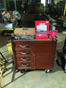 ROLLING TOOL CHEST WITH VICE AND MISC HAND TOOLS