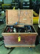 ROLLING TOOL BOX W/ CONTENTS (MISC HAND TOOLS, SOCKETS, WRENCHES, ETC)