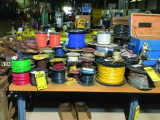 LARGE LOT OF MISC SPOOLS OF COPPER WIRE