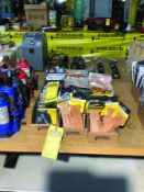 LOT OF MISC KLEIN ELECTRICAL TOOLS W/ TRACTION BOOT COVERS