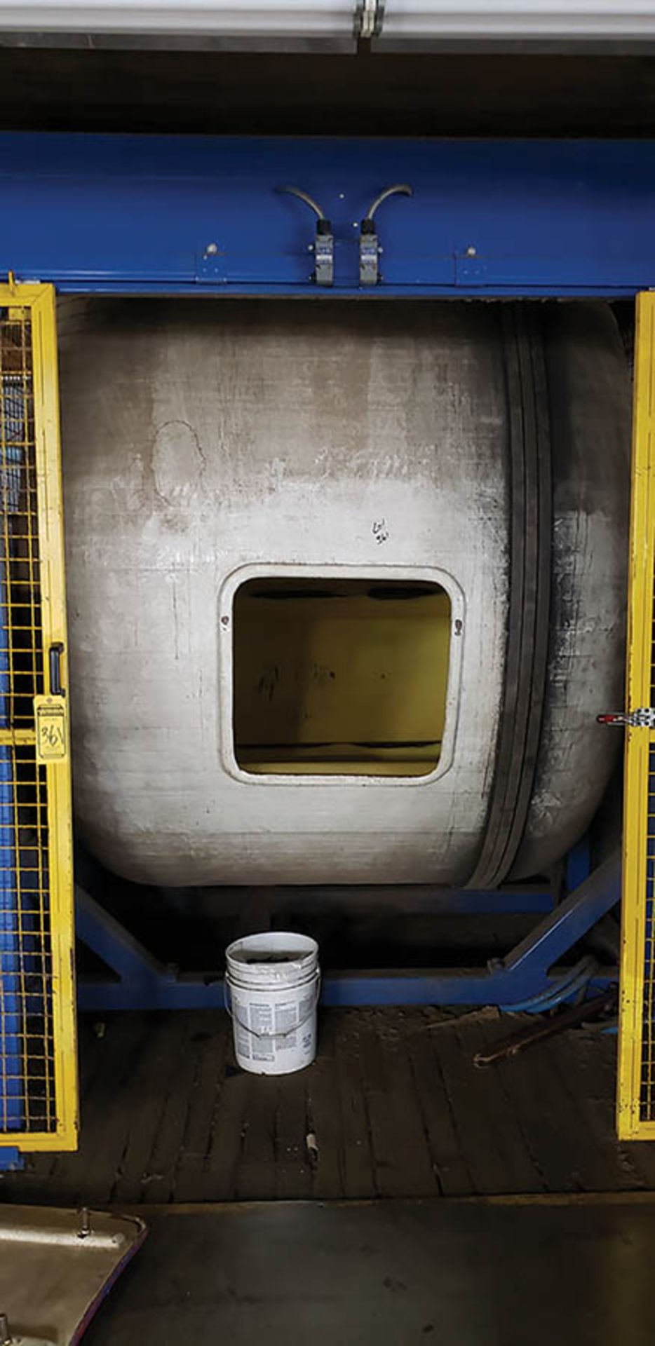 FIBERGLASS DRY MILL TUMBLER, MADE IN HOUSE, 7.5' X 5', (FINISH BUILDING)