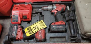 MILWAUKEE M18 FUEL SET, 1/'' HAMMER DRILL/DRIVER, IMPACT DRIVER, (2) BATTERIES, CHARGER & CASE
