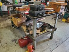 8' X 4 ' X 1/4'' STEEL WELDING TABLE WITH BOTTOM SHELF AND MISC. CONTENTS