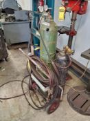 ACETYLENE TORCH CART WITH TWIN LINE HOSE, GAUGES & CUTTING HEAD, (2) WELDING CURTAINS