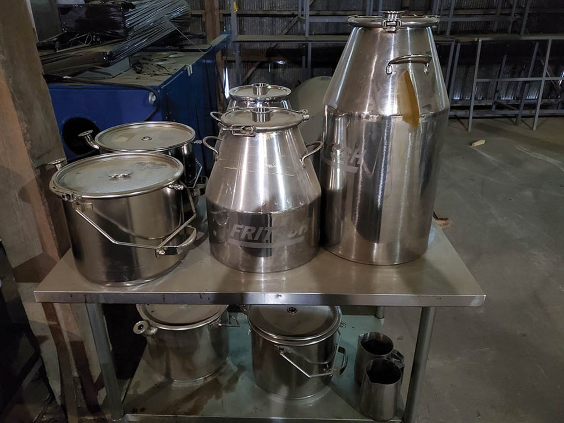 STAINLESS STEEL TABLE AND CART WITH STAINLESS STEEL FRITSCH CONE POTS, PRESSURE POTS, CLAMP RINGS, - Image 2 of 11