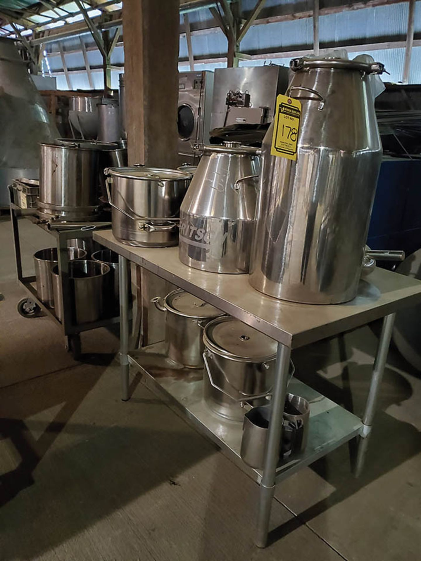 STAINLESS STEEL TABLE AND CART WITH STAINLESS STEEL FRITSCH CONE POTS, PRESSURE POTS, CLAMP RINGS,