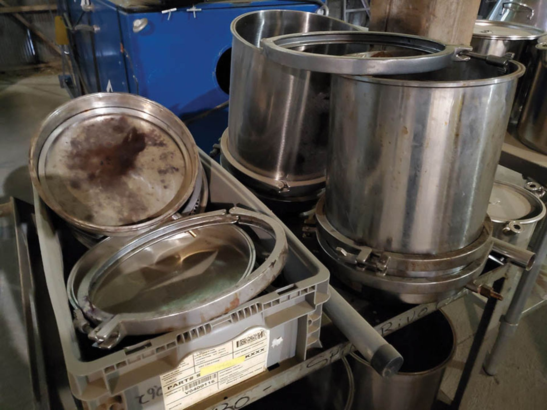 STAINLESS STEEL TABLE AND CART WITH STAINLESS STEEL FRITSCH CONE POTS, PRESSURE POTS, CLAMP RINGS, - Image 8 of 11