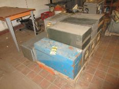 PALLET W/ TOOLBOX, FILE DRAWERS, TABLE AND STAMINA STATIONARY BIKE