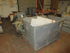 (3) PALLETS AND PLASTIC TOTE W/ AIR FILTERS, SUBMERSIBLE PUMP, WATER FOUNTAIN, OTHER MISC.