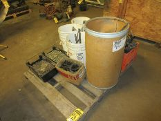CRATE AND PALLET W/ ASSORTED HARDWARE, CAT C-15 INJECTORS, AND MORE