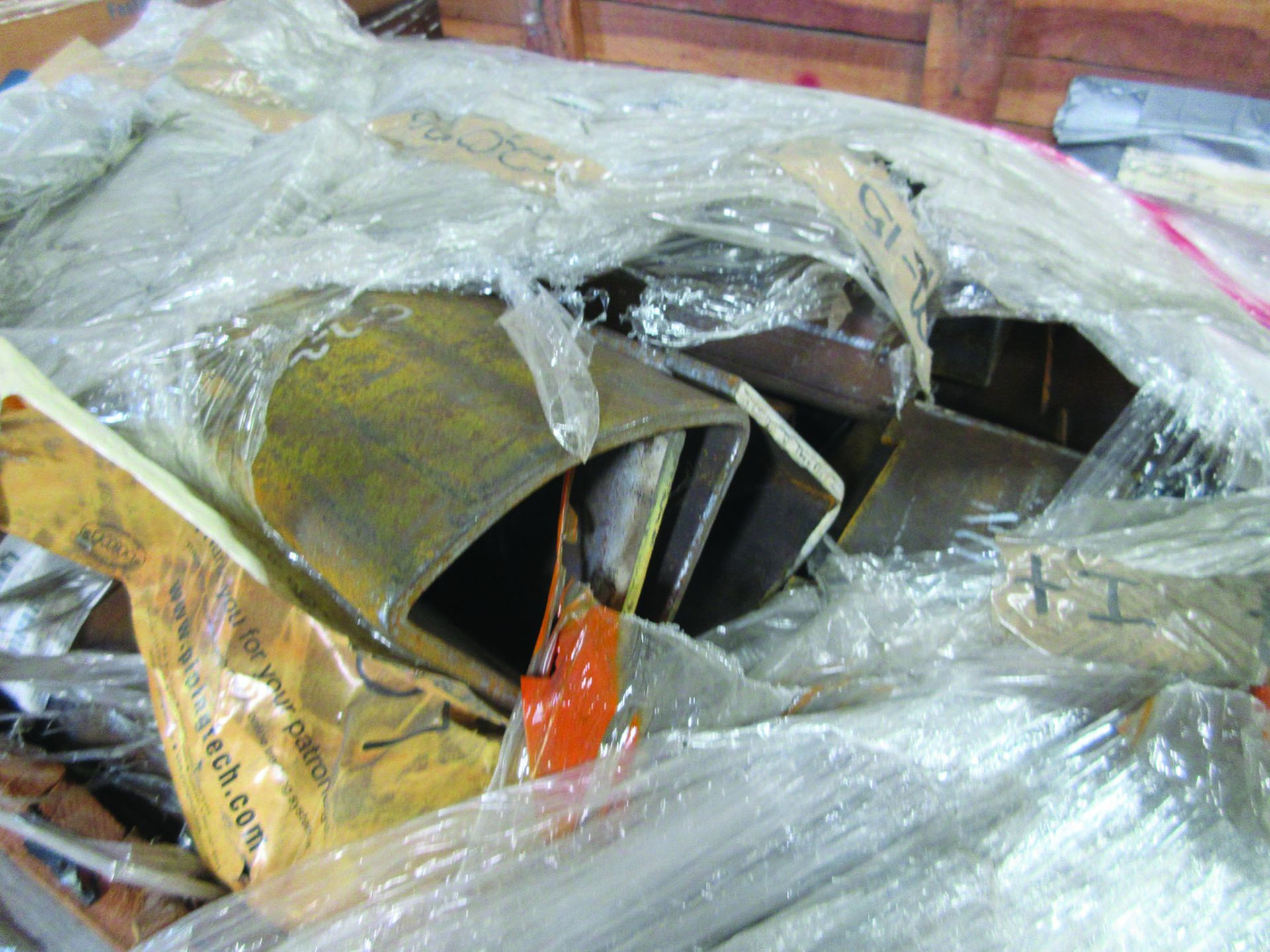 ASSORTED STEEL: PLATES, BEAMS, ROOF/SIDING SUPER RIB CLOSURES, BRACKETS, SPRING CANS, STEEL BRACING, - Image 3 of 16