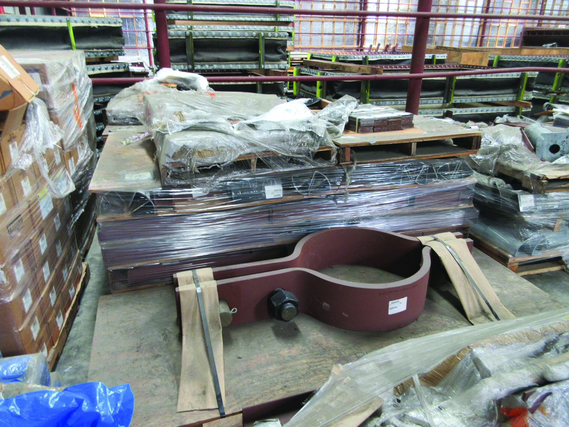 ASSORTED STEEL: PLATES, BEAMS, ROOF/SIDING SUPER RIB CLOSURES, BRACKETS, SPRING CANS, STEEL BRACING, - Image 6 of 16