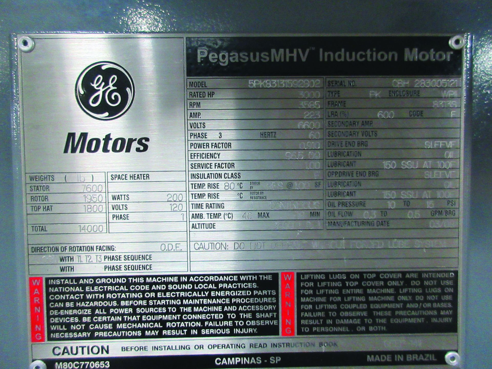 BOILER FEEDWATER BOOSTER PUMP SLED, GE 3,000 HP INDUCTION MOTOR 3585 RPM, 6600 VOLTS, 8313S FRAME, - Image 11 of 11