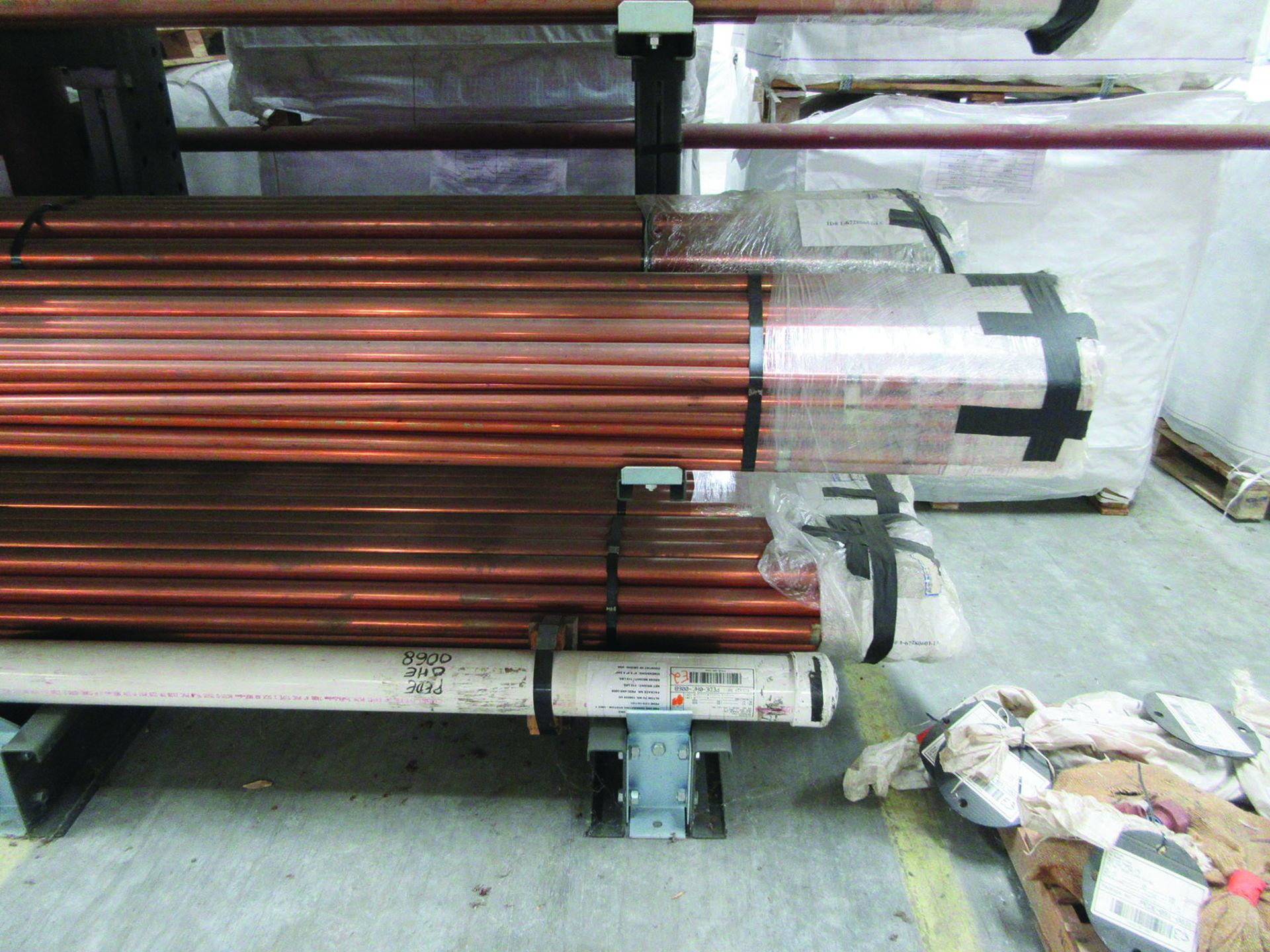 CANTILEVER RACK W/ CONTENT: 120'' X 48'' X 202'', BUNDLES OF COPPER PIPE; LARGER BUNDLES WEIGH 1, - Image 11 of 13