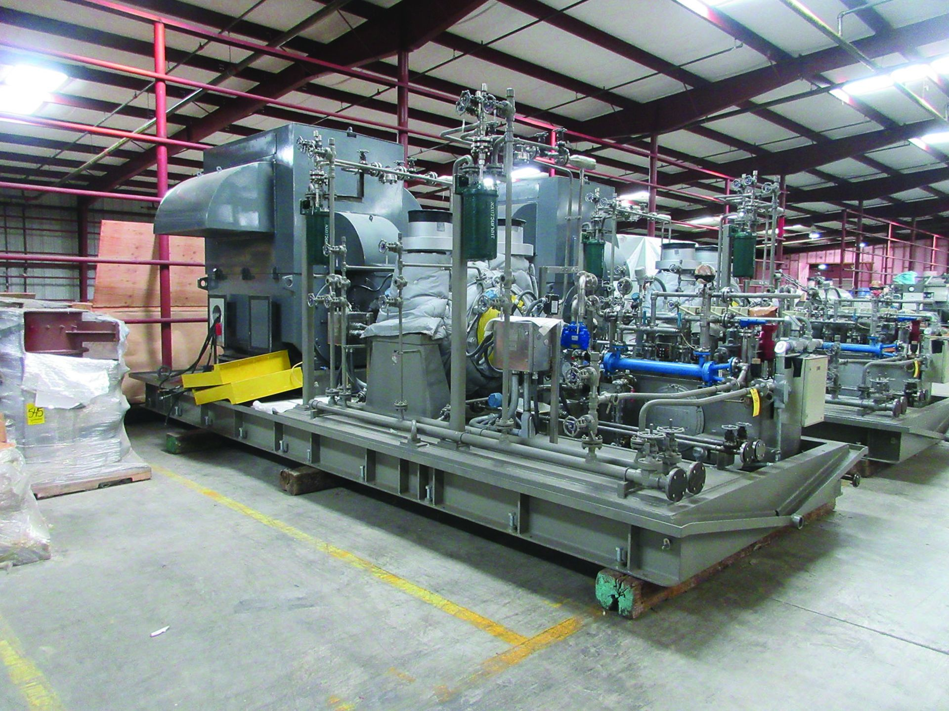 BOILER FEEDWATER BOOSTER PUMP SLED, GE 3,000 HP INDUCTION MOTOR 3585 RPM, 6600 VOLTS, 8313S FRAME,