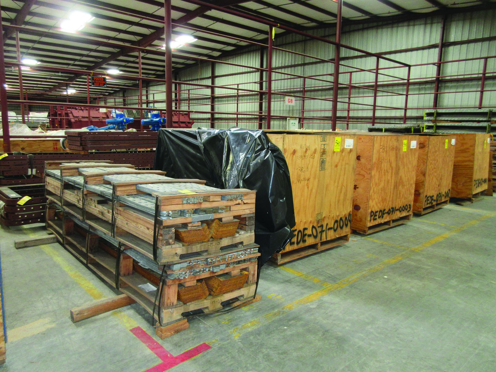 PALLET OF GAS DUCT TO AIR HEATER PRE FAB STEEL, OTHER FAB STEEL, V-BELTS, BELLOWS, GRID G8