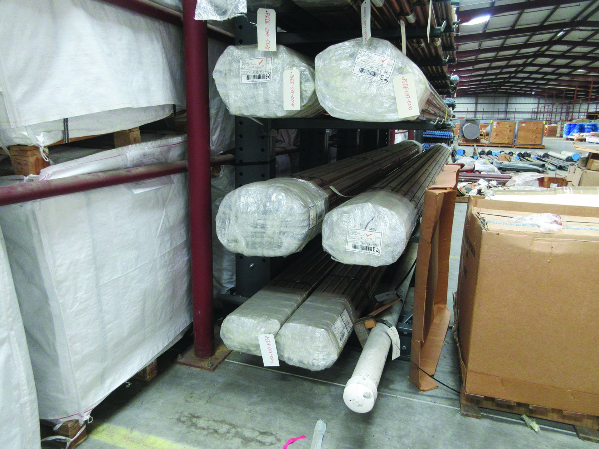 CANTILEVER RACK W/ CONTENT: 120'' X 48'' X 202'', BUNDLES OF COPPER PIPE; LARGER BUNDLES WEIGH 1, - Image 2 of 13