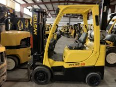 2013 HYSTER 5,000-LB., MODEL: S50FT, S/N: F187V24618L, LPG, LEVER SHIFT TRANSMISSION, SOLID TIRES,