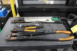 LOT: ASSORTED CUTTERS & WRENCHES WITH RUBBERMAID SHOP CART