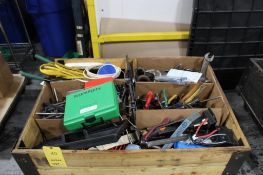 LOT: CRATE WITH ASSORTED TOOLING & TOOLS, ALLEN WRENCHES, WRENCHES, CLAMPS, ETC.