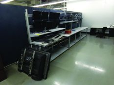 WORK AREA: TABLES, MONITORS, FILE CABINETS, DESK & PARTITIONS