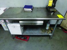 (3) TABLES, (1) 2-DOOR CABINET, (1) WORK BENCH W/CONTENTS