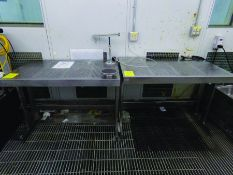 (3) 4' X 2' 6'' STAINLESS TABLES & (1) METRO SHELVE