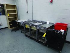 LOT OF (5) ROLLING CARTS, (4) TABLES, (8) SHELVES, AND 12-DOOR CABINET