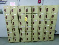 LOT OF LOCKERS, 2-DOOR CABINETS, SHELVE, AND TABLE