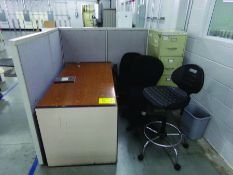SMALL OFFICE AREA, DESK, FILE CABINET, CHAIRS, & PARTITION