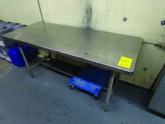6' X 2' 6'' STAINLESS TABLE, 2-DOOR CABINET W/ CONTENT