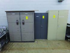 (2) 2-DOOR CABINETS, (1) TUPPERWARE 2-DOOR CABINET, (1) SHELVE