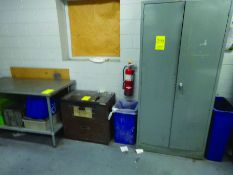 (1) 5' X 2' 6'' STAINLESS TABLE, (1) FILE CABINET, (1) 2-DOOR CABINET W/CONTENT