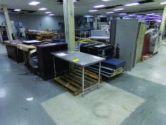 LOT OF TABLES, SHELVES & CABINETS