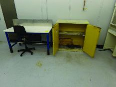 FLAMMABLE CABINET & 5' X 2' 6'' TABLE