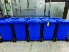 (10) BLUE ROLLING TRASH CANS