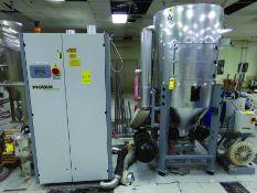 2007 PIOVAN DRYER MODEL DP621MT, S/N 60000004690, 460 V., 3-PH, W/2007 DRYER HOPPER, MODEL PTU600