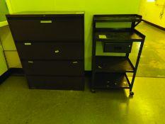 FILE CABINET, 2-DOOR CABINET, (2) WORK STATIONS
