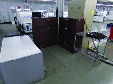 OFFICE AREA: (3) HORIZONTAL FILE CABINETS, (1) 2-DOOR TUPPERWARE CABINET, (1) DESK, (2) STEEL 2-DOOR