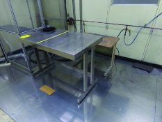 (1) 4' X 2' 6'' STAINLESS TABLE, (3) ASSORTED SIZE METRO SHELVES, (1) 2-DOOR CABINET