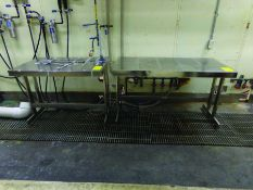 (3) 4' X 2' 6'' STAINLESS TABLES, (1) 5' X 2' 6'' STAINLESS TABLE