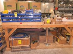 ITEMS ON WORKBENCH: ASSORTED WIRE SPOOLS, ELECTRICAL BOXES, COVERS, EFECTOR ELECTRONIC PROXIMITY